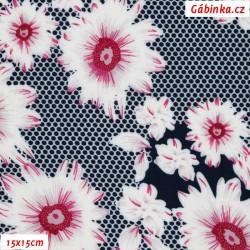 Viskóza tkanina - Květy růžovobílé na puntících, 15x15 cm