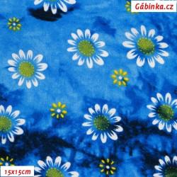 Viskóza tkanina - Kopretiny na středně modré batice, 15x15 cm