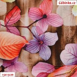 Viskóza tkanina - Pestrobarevné listy na hnědé, 15x15 cm