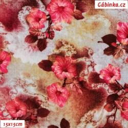 Viskóza tkanina - Ibiškové květy, 15x15 cm
