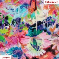 Viskóza tkanina - Pestrobarevné květiny olejová malba, 15x15 cm