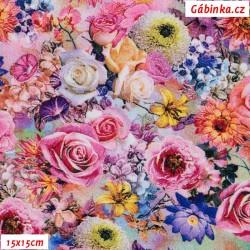 Viskóza tkanina - Zahradní květiny, 15x15 cm