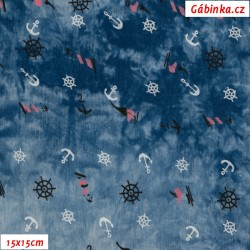 Viskóza tkanina - Kotvy, kormidla a lodě na modré batice, 15x15 cm