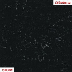 Úplet s EL - Matematické zápisy na černé, 15x15 cm
