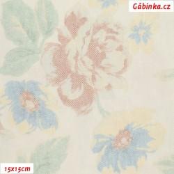 Riflovina BA/PES - Světlé květiny, 15x15 cm
