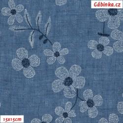 Fáčovina PES/BA - Květy na modré jeans, 15x15 cm