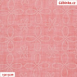 Fáčovina PES/BA - Kytičky s ornamenty na růžové, 15x15 cm