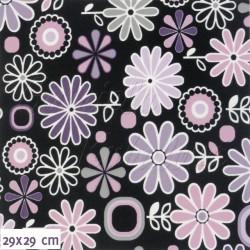 Kočárkovina MAT, Rozkvetlá louka fialová na černé, šíře 160 cm, 10 cm, Atest 1