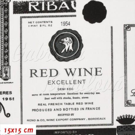 Látka plátno - Vinné etikety na bílé - detail
