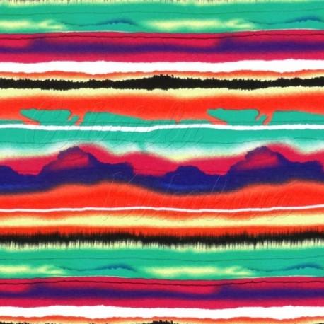 Viskóza - Malované pruhy - zelená, červená a černá - detail