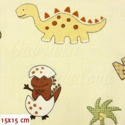 Zbytek, Látka, bavlna - Dinosauři s vajíčkem na smetanové, šíře 140 cm, 2,5m