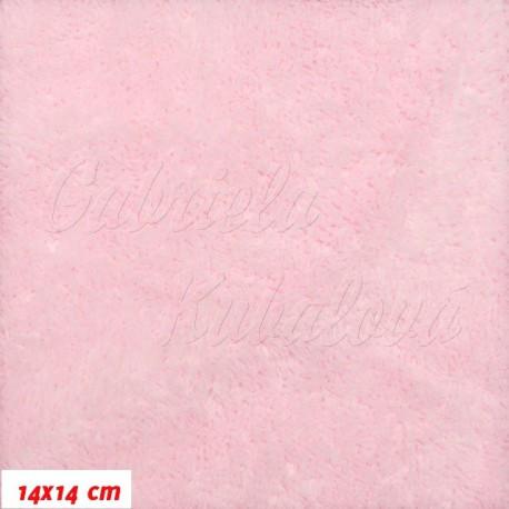Látka, plyš, jednobarevná - světle růžová, šíře 180 cm