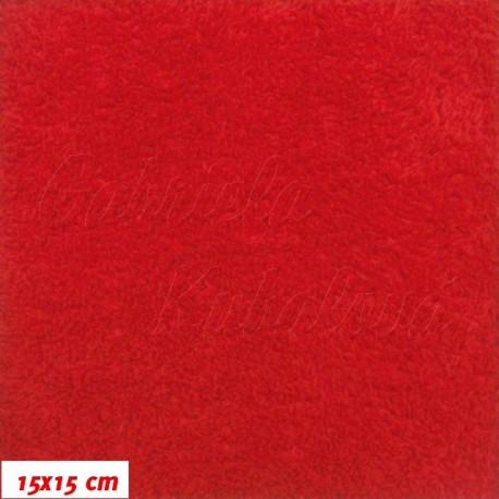 Látka, plyš, jednobarevná - červená, šíře 180 cm