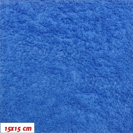 Látka, plyš, jednobarevná - královská modrá, šíře 180 cm