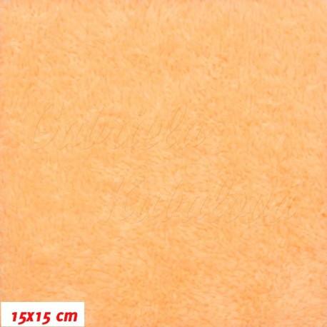 Látka, plyš, jednobarevná - světle oranžová, šíře 180 cm