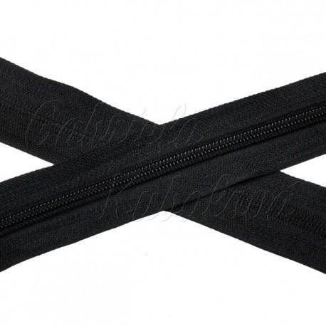 Metrový spirálový zip - černý, 5mm