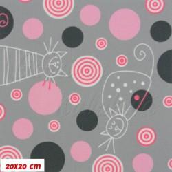 Kočárkovina MAT, Kočky na sv. šedé s růžovými kolečky, šíře 160 cm, 10 cm, Atest 1