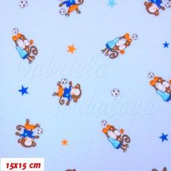 Jednolícní úplet - Opičky s balónem na modré, šíře 160 cm, 10 cm, ATEST 1
