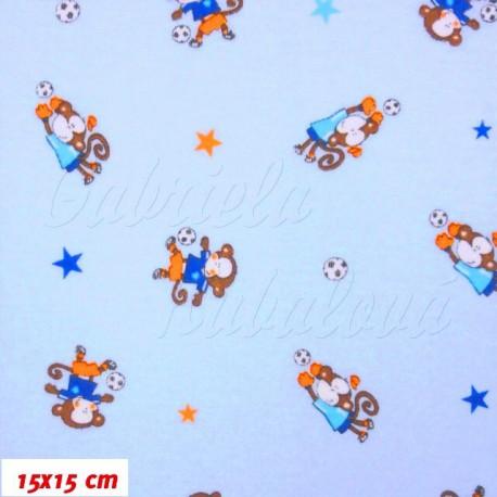 Jednolící úplet - Opičky s balónem na modré