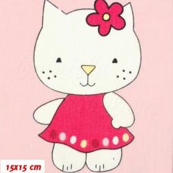 Plátno - podobná Hello Kitty na růžové, šíře 160 cm, 10 cm, ATEST 1