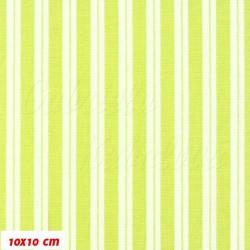 Plátno - Dva bílé proužky na sv. zelené, šíře 140 cm, 10 cm