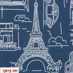 Kočárkovina MAT, Města a auta na jeans, šíře 160 cm, 10 cm, Atest 1