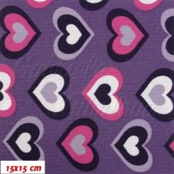 Kočárkovina MAT, Růžová srdíčka na fialové, šíře 160 cm, 10 cm