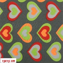 Kočárkovina MAT, Zelená červená a oranžová srdíčka na tm. šedé, šíře 160 cm, 10 cm, Atest 1