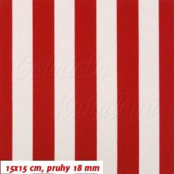 Kočárkovina MAT, Pruhy 18 mm červené a bílé, šíře 160 cm, 10 cm