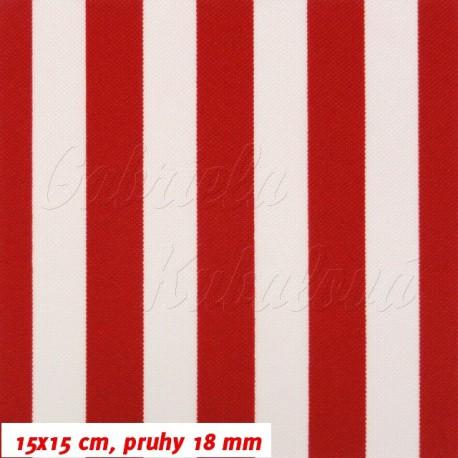 Kočárkový šusťák, červené a bílé pruhy, 15x15cm