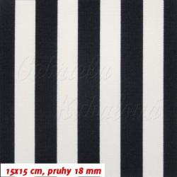 Kočárkovina MAT, Pruhy 18 mm temně modré a bílé, šíře 160 cm, 10 cm
