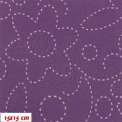 Kočárkový šusťák, Prošívané kytky na sv. fialové, 15x15cm