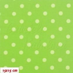 Kočárkovina MAT, Malé puntíky světle zelené na zelené, šíře 160 cm, 10 cm, Atest 1