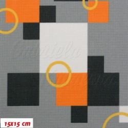 Kočárkové šusťáky, Oranžové bílé a černé kostky s kroužky na šedé, 15x15cm