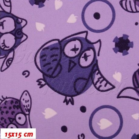 Kočárkový šusťák - Velké sovy na fialové - 20x20cm