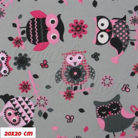 Kočárkový šusťák - Růžové sovy na šedé - 20x20cm