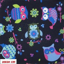 Kočárkový šusťák - Barevné sovy na tm. modré - 20x20cm