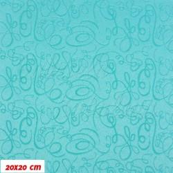 Prošívaný šusťák - Ornamenty na sv. zelené - 20x20cm