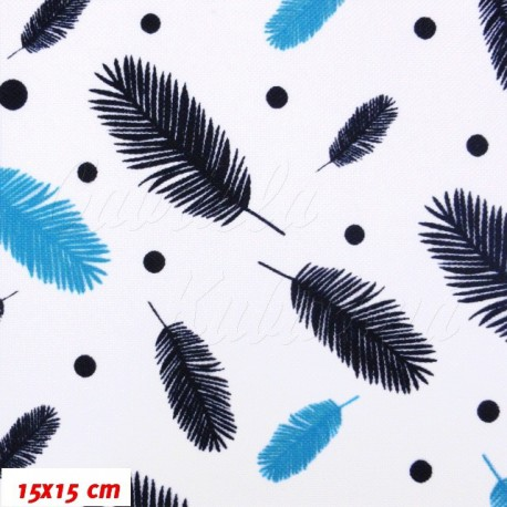 Kočárkový šusťák - Pírka modrá na bílé, 15x15cm