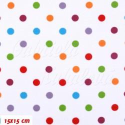 Kočárkovina MAT, Malé puntíky barevné s červenou na bílé, 2. jakost, šíře 160 cm, 10 cm, Atest 1