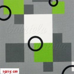 Kočárkovina MAT, Čtverečky zelené s kroužky, šíře 160 cm, 10 cm, Atest 1