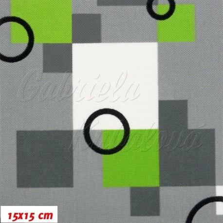 Kočárkový šusťák - Kostičky zelené s kroužky, 15x15cm