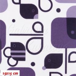 Kočárkovina MAT, Včelky a ptáčci fialová na bílé, šíře 160 cm, 10 cm