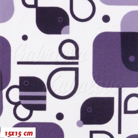 Kočárkový šusťák - Včelky a ptáčci fialová na bílé, 15x15cm