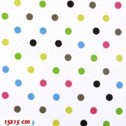 Kočárkovina MAT, Malé puntíky barevné s hnědou na bílé, šíře 160 cm, 10 cm, Atest 1