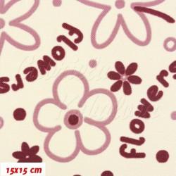 Kočárkovina MAT, Flowers - Kytky fialové na smetanové, šíře 160 cm, 10cm, Atest 1