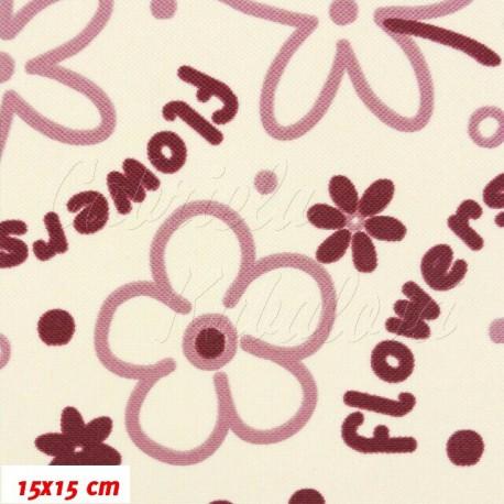 Šusťák kočárkový, Fialové flowers na smetanové, 15x15cm