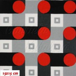 Šusťák HF kočárkový, Klikatý šedočerný had s červenými kolečky, šíře 160 cm, 10 cm