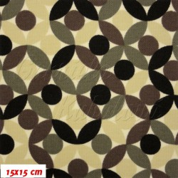 Kočárkovina MAT, Lístečky hnědé, šíře 160 cm, 10 cm, Atest 1