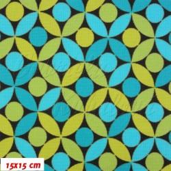 E - Kočárkovina MAT, Lístečky modré a zelené, šíře 160 cm, 10 cm, Atest 1